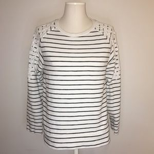 A NEW DAY black & white stripped Embroidered shirt